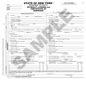Ny Marriage License Records Affidavit License And Certificate Of Marriage New York Fill Printable