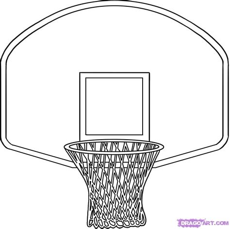Basketball Backboard Coloring Page | how to draw a basketball hoop step by step sports pop