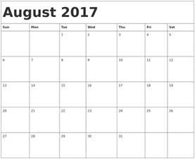 Kalender 2018 August September August 2017 Calendar August 2017 Calendar