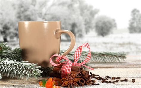 coffee winter wallpaper prazniki cinnamon stick ribbon pine snow chashka tea