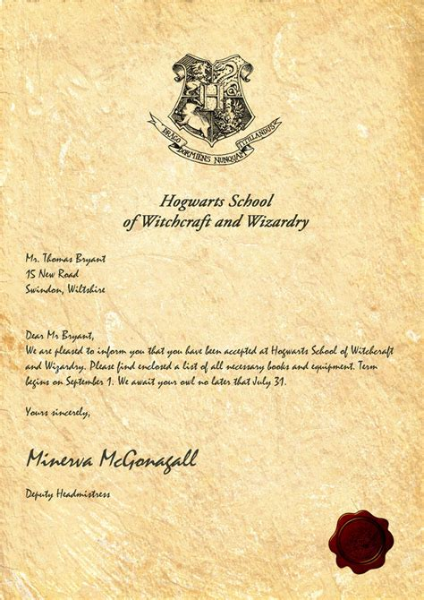 Harry Potter Hogwarts Personalized Acceptance Letter Free My