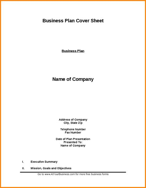 business plan title page template 7 business proposal