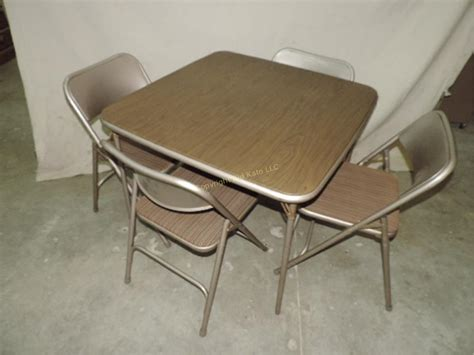 Folding Card Table And Chairs 36 Quot Card Table And 4 Metal Folding Chairs