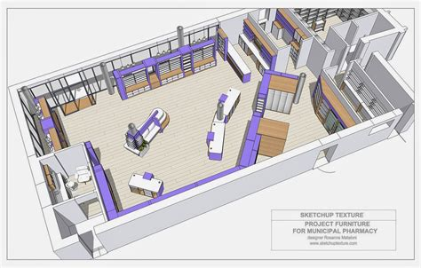 layout plan of the project sketchup texture how to design a modern pharmacy 3d