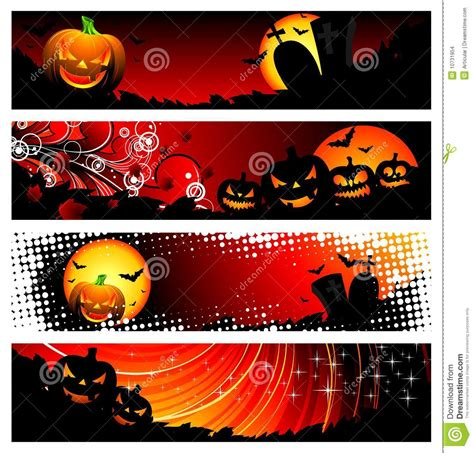 halloween themes vector four vector banner on a halloween theme stock images