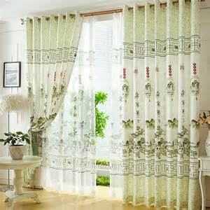 Living Room Curtains Fresh Light Green Polyester Style Decorative Living Room Curtains