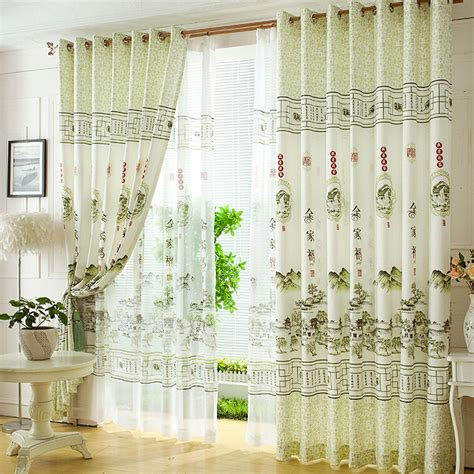 Livingroom Curtains fresh light green polyester chinese style decorative
