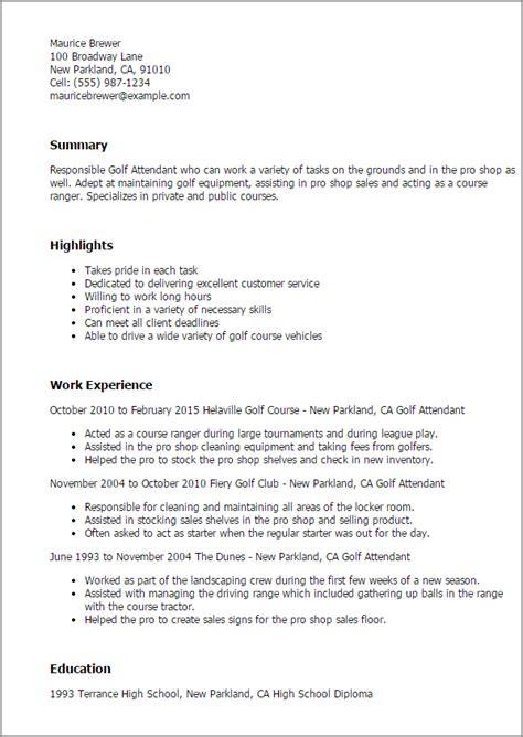 Golf Attendant Cover Letter by Professional Golf Attendant Templates To Showcase Your Talent Myperfectresume