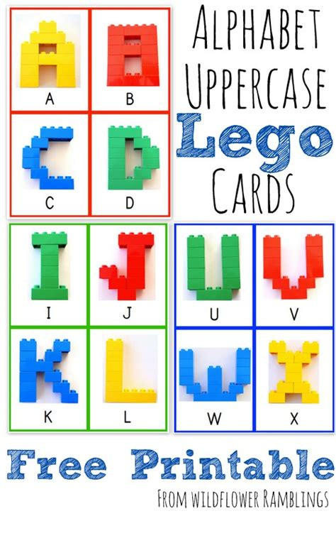 alphabet lego cards uppercase free printable