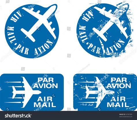par avion par e mail par avion or air mail rubber sts grunge and clean