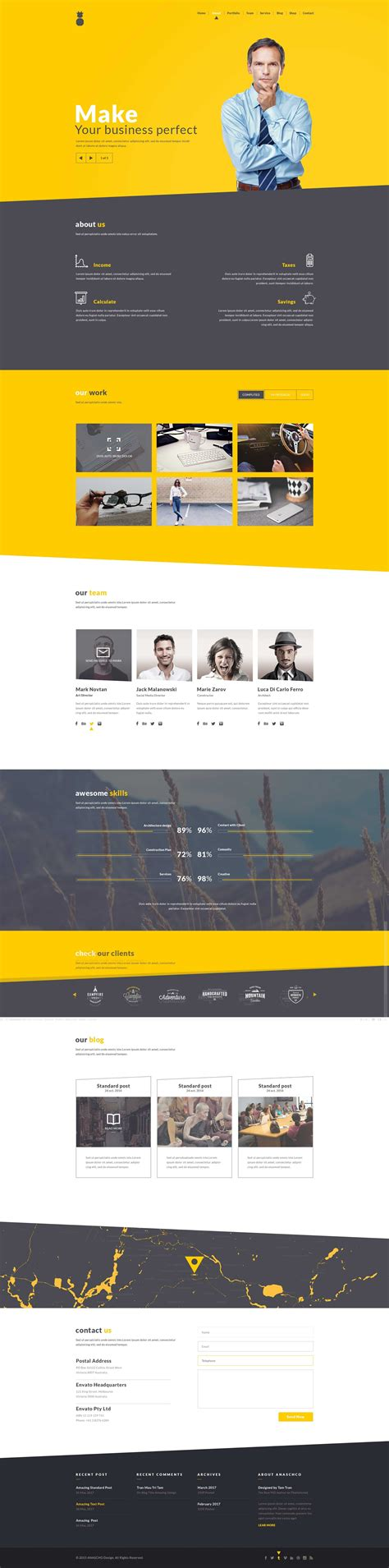 Ricardo Corporate One Page Template By Eanaszko Themeforest One Page Shopping Cart Template