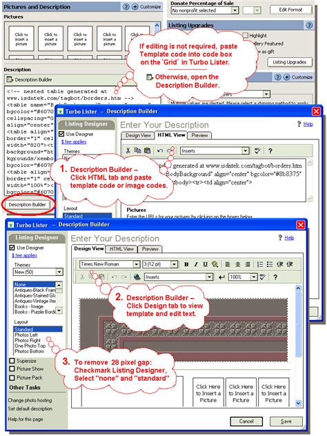 ebay turbo lister templates how to add a template to an auction tutorials the ebay