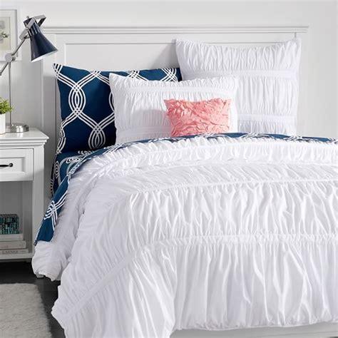 pucker up comforter sham pbteen white and navy ruffle