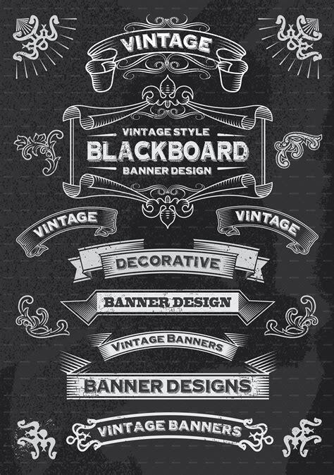 design banner retro retro banner and ribbon blackboard design set by rtguest