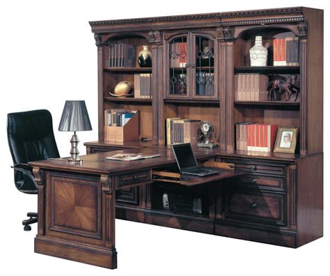 Office Desk Wall Unit Huntington Office Peninsula Desk Wall Unit 7 Traditional Desks And Hutches By