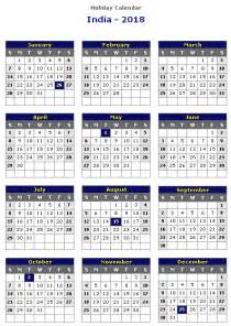Calendar 2018 With Indian Holidays India 2018 Printable Calendar 171 Printable Hub