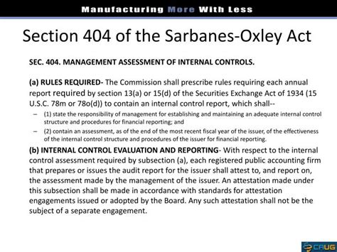 section 404 of the sarbanes oxley act ppt ifrs sox powerpoint presentation id 1684147