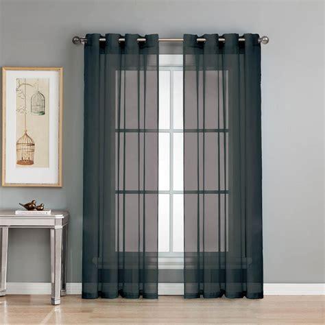 Curtain L 3 window elements sheer sheer elegance 84 in l grommet curtain panel pair black set of 2