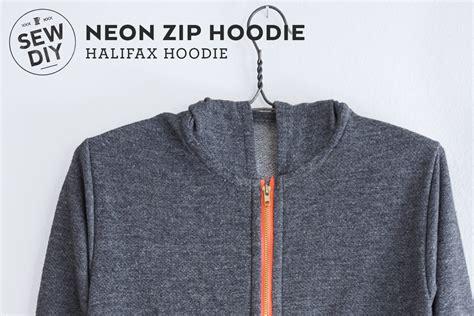 sewing pattern zip up hoodie diy neon zip hoodie halifax hoodie sew diy