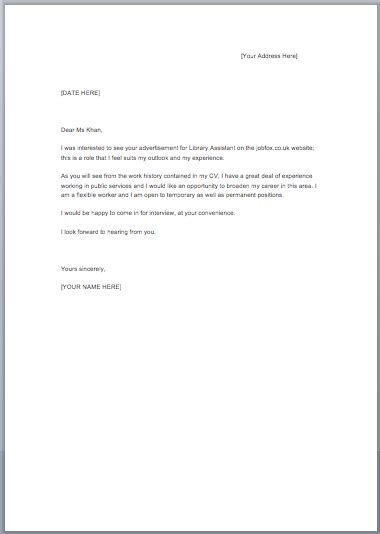 Cover Letter Template Cover Letter Exles Fox Uk
