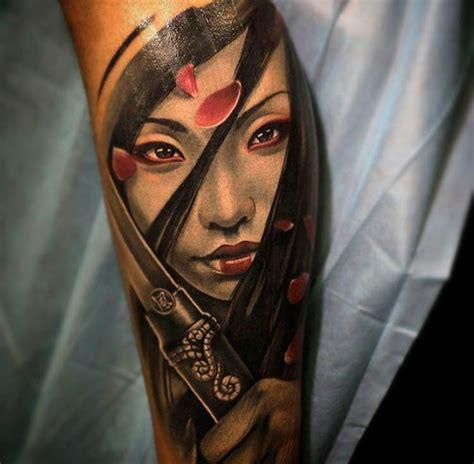 geisha girl tattoo forearm new school style colored forearm tattoo of beautiful