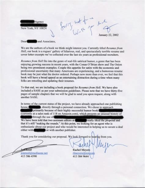 cover letters from hell resumes from hell rejection letters from book agents