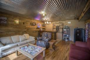 rustic basement with hardwood floors amp pendant light