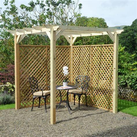m m 6 x 6 coppice wooden garden pergola kit with lattice