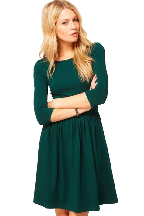 Dark green half sleeves simple dress casual dresses women casual