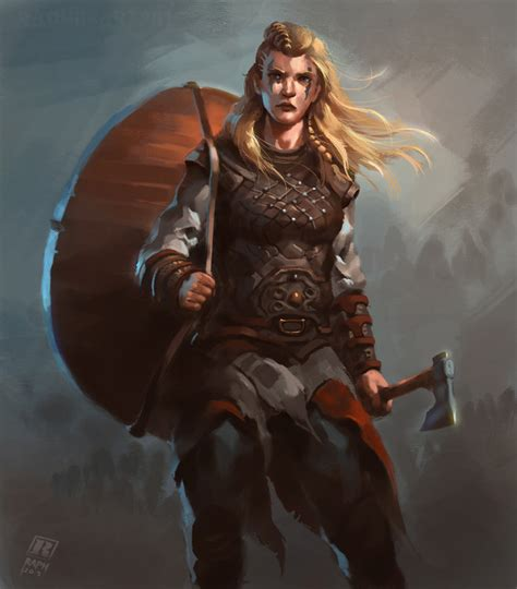 artstation female viking warrior 2 raph lomotan