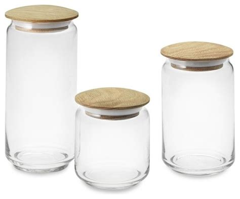 glass canisters with wood lids modern kitchen