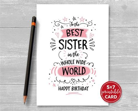 printable birthday cards for a sister best 25 birthday cards for sister ideas on pinterest