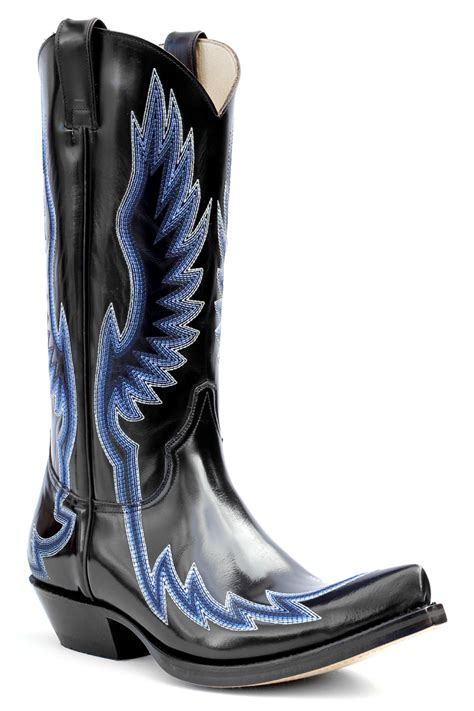 Country Boots Original Handmade Brown Black pointy embossy cowboy boots black leather ebay