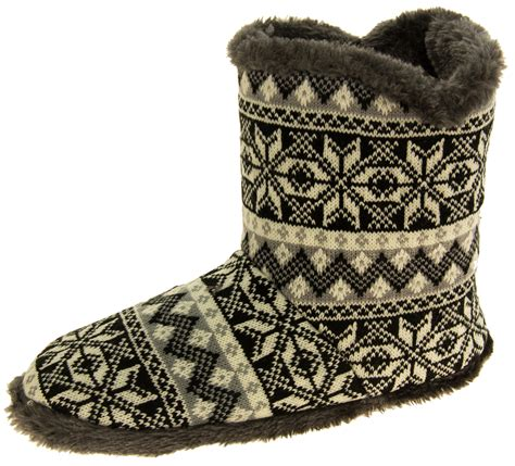 fur lined boot slippers mens coolers fairisle faux fur lined snowflake boot