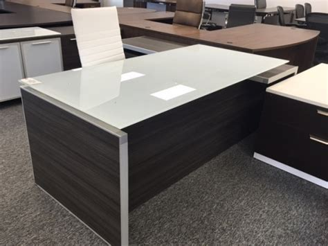 white desk with glass top potenza executive l desk with white glass top used