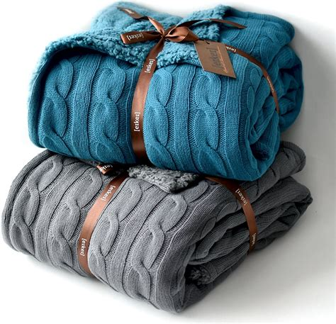 Blankets For by Cable Knit Reversible Sherpa Throw Blanket Eikei
