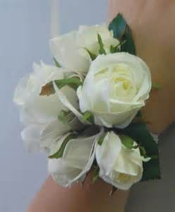silk wedding wrist corsage artificial flower white roses ebay