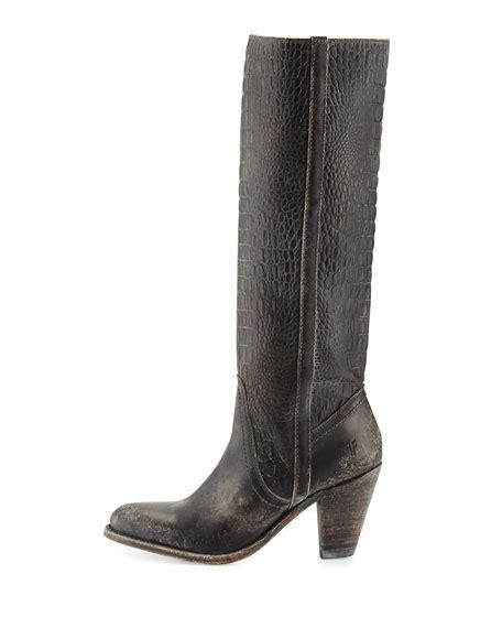 frye mustang boots frye mustang crocodile embossed boot black
