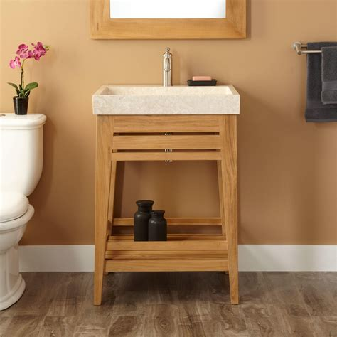 trough bathroom vanity 24 quot aurelia teak trough sink vanity natural teak bathroom