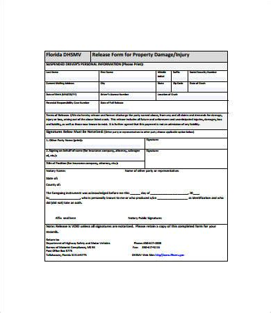 property damage release form template release form template 10 free pdf documents