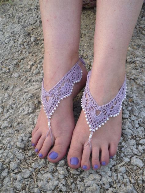 free shipping crochet barefoot sandals beaded by