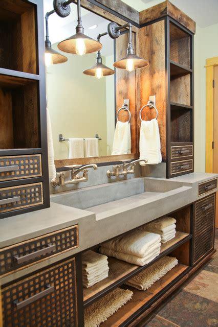 custom badezimmer vanity ideas da concrete sink and custom vanity industrial bathroom