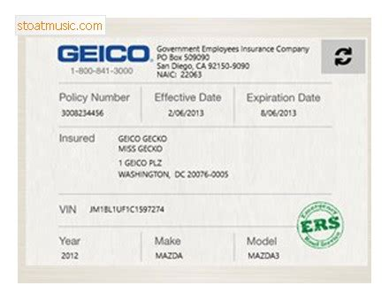 Car Card Template by Geico Insurance Ibrizz