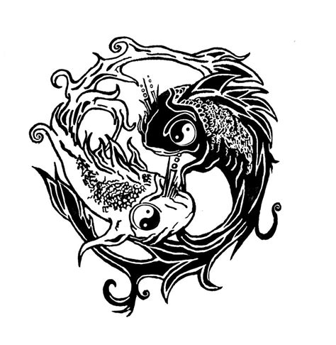 yin yang koi tattoo designs grey and black ink koi yin yang tattoos design