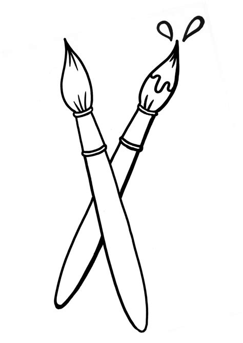 Paint Brush Coloring Page large paint brushes coloring page coloring pages
