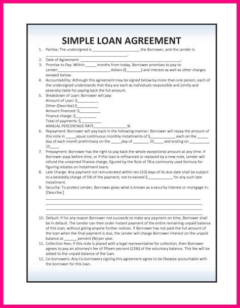 sle loan contract templates template free personal