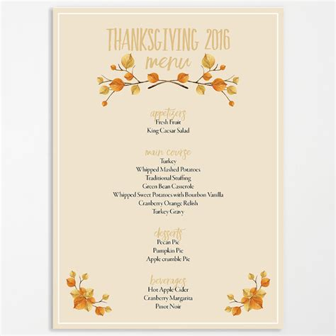 Thanksgiving Menu Template Printable menu template 21 free psd eps ai indesign word pdf
