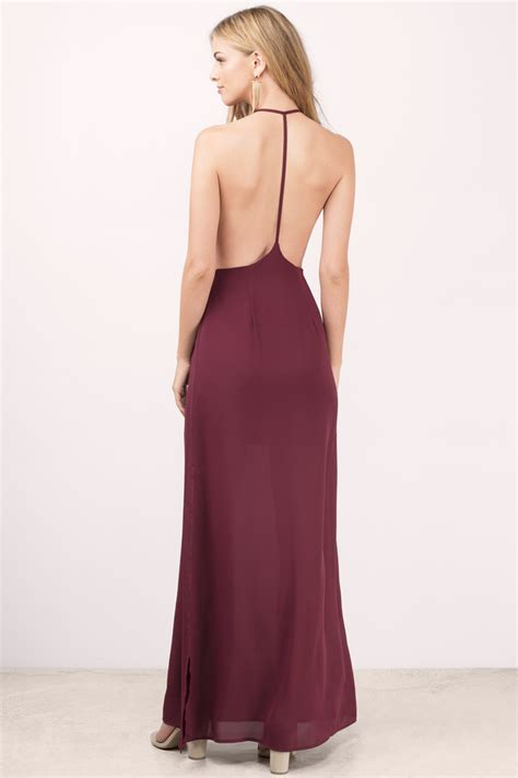 Wine Maxy wine dress exposed back dress dress maxi