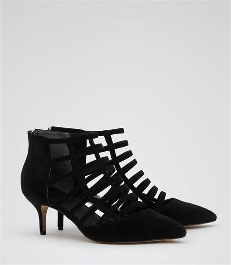 evey black cage effect mid heel shoes reiss