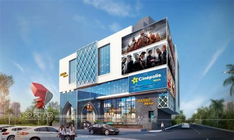 exterior rendering  shopping mall threed power
